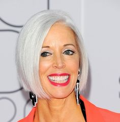 One way to look polished is to have smooth, shiny silver hair like Linda Fargo's sleek bob.  More gray hairstyles:    10 Long Gray Hair Styles  10 Short Gray Haircuts  How to Go Gray Gracefully