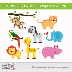 Jungle Animals - African Safari Clip Art / Digital Clipart - Instant Download - EPS and PNG files included - 8 animals