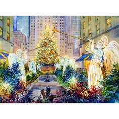 Christmas Angels watercolor painting by Roustam Nour fine art giclée print for sale. This New York Art painting reproduction is printed on exhibition quality textured watercolor paper. Three sizes available of this New York artwork. Prices start from $30.00.