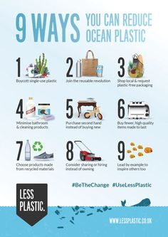 9 ways you can reduce ocean plastic - Posters & Postcards - Less Plastic - Rebel Eco Plastik Recycling, Save Environment, Save Our Earth, Save The Planet, Save Our Oceans, Plastic Pollution, Eco Friendly House, Eco Friendly Products, Sustainable Living