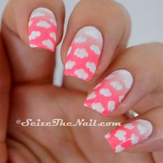 Clouds in a Pink Sky. Pink and white gradient cloud nails with glitter for summer