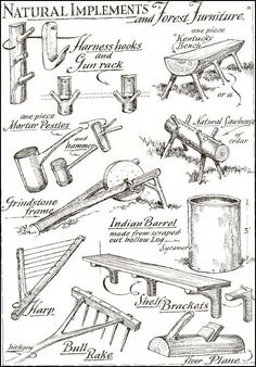 Log household items # Household items log tools for beginners tools for Antique Woodworking Tools, Green Woodworking, Antique Tools, Old Tools, Vintage Tools, Woodworking Plans, Bushcraft Camping, Camping Survival, Outdoor Survival