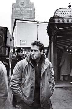 Paul Newman (Notice the Carl Fischer Building on the left behind Mr. Newman.)