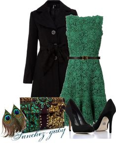 """Bronze Teal Listra Clutch"" by sanchez-gaby on Polyvore.  Love the green dress"