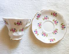 RESERVED FOR KRISTEN-Sophisticated Royal Albert Rosebud 1950's Teacup and Saucer - Edit Listing - Etsy