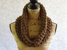 Ready To Ship Infinity Scarf Crochet Cowl by SouthernStitchesCo