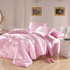 Pink Silk satin bedding sets California king queen size quilt duvet cover fitted sheets bed in a bag bedsheet bedroom linen