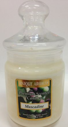 9.5 oz Dye-Free Soy Scented Candle - Muscadine. -A tart and sweet scent and sun ripened Burn up to 75 hours per candle. Premium scented 9.5 oz Dye-Free Soy Candle made with premium grade fragrance oil and non-lead wicks. Made in the USA.