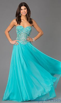 Floor Length Dave and Johnny Dress with Jewel Embellished Bodice at SimplyDresses.com