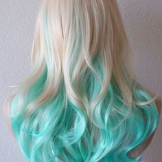 medium length blonde hair with blue tips - Google Search