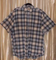 Blue plaid heavy-duty Western shirt short sleeve CINCH 100% cotton Medium #Cinch #ButtonFront