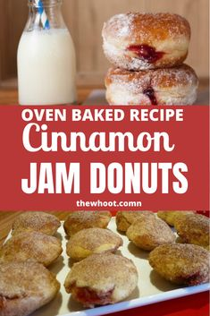 These Baked Cinnamon Donuts With Jam Filling are easy to make and so delicious to eat! Get the recipe and fill them with your favorite fillings! Oven Recipes, Baking Recipes, Cookie Recipes, Dessert Recipes, Bread Recipes, Baked Doughnut Recipes, Baked Doughnuts, Cinnamon Donuts, Cinnamon Desserts