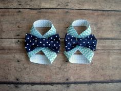 Teal and White Chevron and Navy Bow Baby Barefoot by BabyPs, $6.00