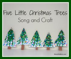{Five Little Christmas Trees} Craft and Song- Would be a great activity to do on Day after the presents are opened and the meal enjoyed. Christmas Tree Poem, Christmas Program, Little Christmas Trees, Christmas Tree Themes, Christmas Projects, Kids Christmas, Christmas Music, Christmas Paper, Christmas Stuff
