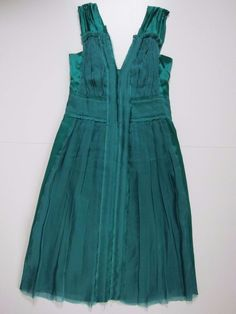 NWT Alberta Ferretti Green 100% Silk Cocktail Bridal Prom Dress Women's Size 8 #AlbertaFerretti