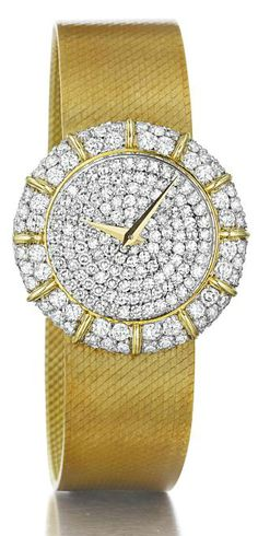 Chopard.    A Diamond and Gold Lady's Wristwatch.    Of quartz movement, the pavé-set diamond circular dial, with gold hands, within a circular-cut diamond and polished gold bezel, to the tapered gold band, mounted in 18K yellow gold, length 6 1/2. Case signed 'Chopard', 'Geneve' 'Swiss', case no.410 05 (Indistinct), band no.G3374 1, with Swiss assay marks.  Philips de Pury.