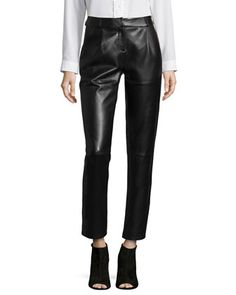 Leather Pleated Trousers  by Bagatelle at Neiman Marcus.