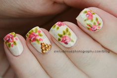 Studded floral nails, using beautiful studs from KKCenterHK....