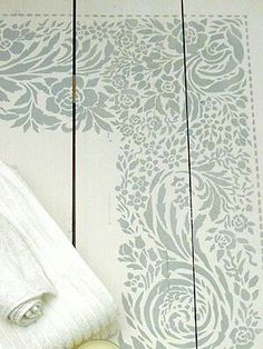 Lace Border and Corner Stencil - Henny Donovan Motif Painted Wooden Floors, Painted Floorboards, Painted Rug, Wooden Flooring, Painted Furniture, Laminate Flooring, Furniture Design, Kid Furniture, Plywood Furniture