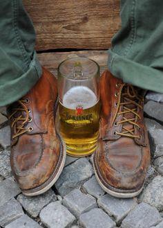Worn RedWings + Green pants + Beer