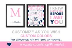 baby girl birth announcement personalized birth print by PinkeeArt