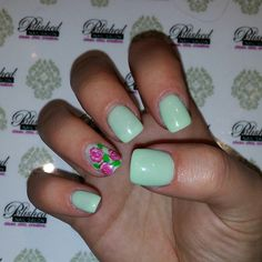 """""""Happy Spring! Lets play with some brilliant bright and pastel colors. Hand painted roses. #SpringNails #gelpolish #mint #rosenails #flowernails #nailswag #nailart #naildesign #nailsokc #okcnails #yukonsbest #okc #nails #bestnailsalon #getpolished #polishednailsok"""" Photo taken by @polishednailsok on Instagram, pinned via the InstaPin iOS App! http://www.instapinapp.com (03/20/2015)"""
