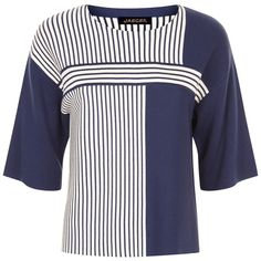 Jaeger Striped Cropped Jumper, Navy/Ivory ($140) ❤ liked on Polyvore featuring tops, sweaters, 3/4 sleeve crop top, navy jumper, stripe sweaters, navy blue sweater and navy blue crop top