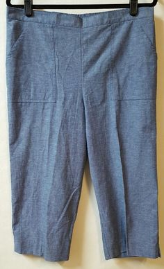 35175b24d16 Alfred Dunner Blue Capri Pants Size 14 34 X 20 Flat Front Pockets Light  Weight