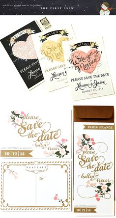 Holiday Giveaway Week – Win Custom Wedding Stationery! These hand painted save the dates from The First Snow will make a fabulous first impression. Enter to win here!   via junebugweddings.com