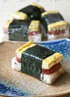Asian breakfast bars! hohoho :: spam musubis with tamago