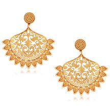 Spargz Designer Gold Alloy American Diamond Hanging Earring For Women Aier 473