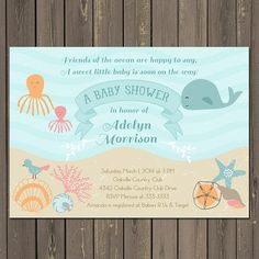 Ocean Baby Shower Invitation Under the Sea Baby by PartyPopInvites