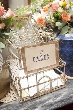 Birdcage Repurpose - Great way to corral cards at a party, shower or wedding.