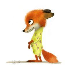 fox in bunny jammies 🌼 {Wiebke Rauers Illustration : Photo} Cute Animal Drawings, Animal Sketches, Cute Drawings, Fox Illustration, Illustrations, Cute Monsters, Cute Characters, Whimsical Art, Cute Cartoon