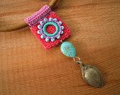 leather and crochet necklace, pink turquoise