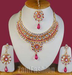 Fancy Indian Jewelry S160 Gold Tone Magenta Mumtaz Necklace Set