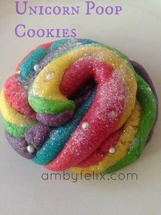 Could Cuckoo Land Party - How to Make Unicorn Poop Cookies Rainbow Unicorn Party, Unicorn Birthday Parties, 4th Birthday, Birthday Ideas, Unicorn Poop Cookies, Yummy Treats, Sweet Treats, Unicorn Foods, Rainbow Food