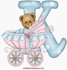 The capital letter K with teddy bear