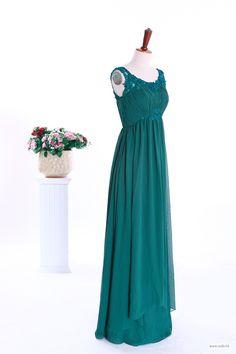 beach wedding lace decorate neckline empire waist full A-line skirt chiffon bridesmaid dress $138.89