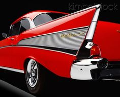 AUT 30 RK6215 01 - 1957 Chevy Bel Air Red Low Side Rear Tail Fin In Studio - Kimballstock