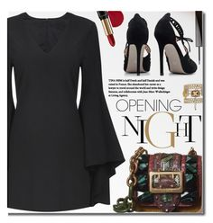 """""""Bell Sleeves Black Dress"""" by beebeely-look ❤ liked on Polyvore featuring Burberry, Givenchy, Temptu, Lancôme, formal, blackdress, blackoutfit, yoins and bellsleeves"""