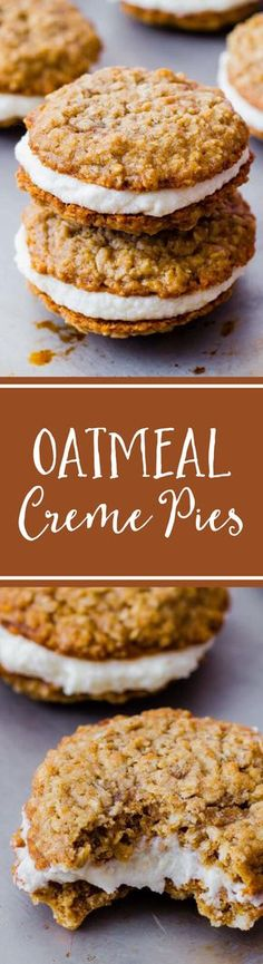 Copycat Little Debbie Oatmeal Cream Pies by sallysbakingaddiction.com. They even taste better than the originals! Recipe on sallysbakingaddiction.com