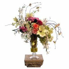 """Silk hydrangea, lilac, dogwood, rose, and peony arrangement in a footed glass vase.  Product: Faux floral arrangementConstruction Material: Silk, plastic, acrylic, and glassColor: MultiFeatures: Includes faux hydrangeas, lilacs, dogwood, roses, and peoniesDimensions: 28"""" H x 24"""" W x 18"""" D"""