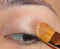 "Eyeshadow ""wash"" with MAC 252 Brush and MAC Naked Lunch eyeshadow"