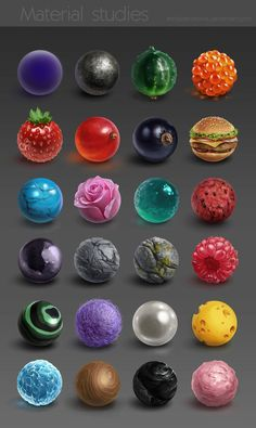 Material studies by AnnikeAndrews -                                         How to Art Art Techniques, Digital Painting Tutorials, Digital Art Tutorial, Art Tutorials, Texture Drawing, Arte Digital, Art Studies, Cg Art, Nespresso