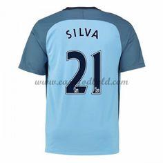 Fodboldtrøjer Premier League Manchester City 2016-17 Silva 21 Hjemmetrøje