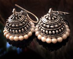 PEARL JHUMKA Earrings,SILVER Jhumkas, Earrings Ethnic ,Silver tribal Jhumkis,Indian Jewelry ,handmade artisan Jewelry by Taneesi by taneesijewelry on Etsy