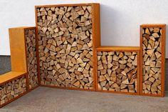 prima terra Kaminholzregal Kaminholzunterstand Brennholzregal Kaminholz Aufbewahrung Bausatz Edelrost Maße 158x118cm Tiefe 35cm