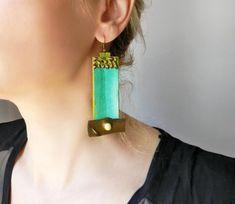 4de588260c Oversized paper earrings in green and bronze Watercolor earrings Hand  painted paper earrings Super long earrings Funky weird big earrings