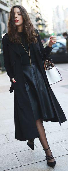 Black Leather Midi Skirt